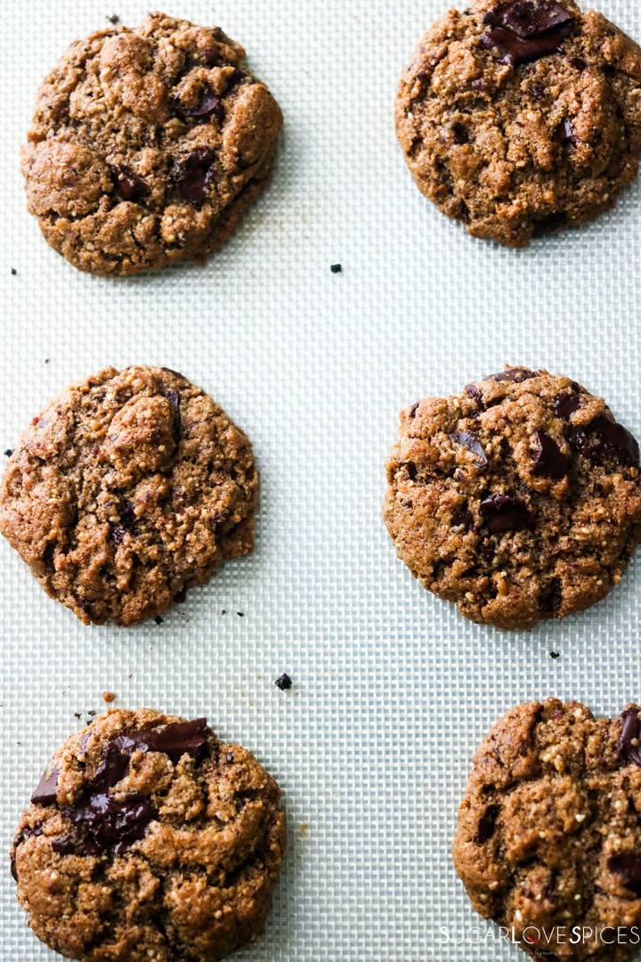 flourless almond butter chocolate chunk cookies-cookies baked