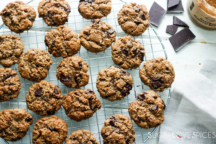 flourless almond butter chocolate chunk cookies-cookies on a rack