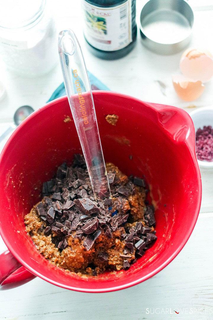 flourless almond butter chocolate chunk cookies-mixing chocolate