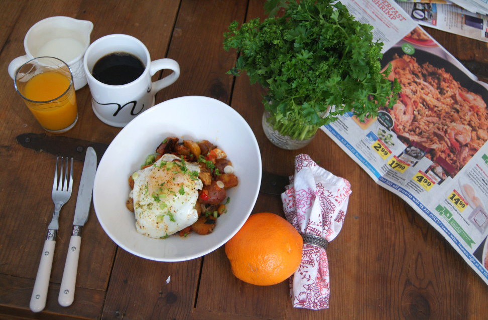 Skillet scramble with sunny side up egg