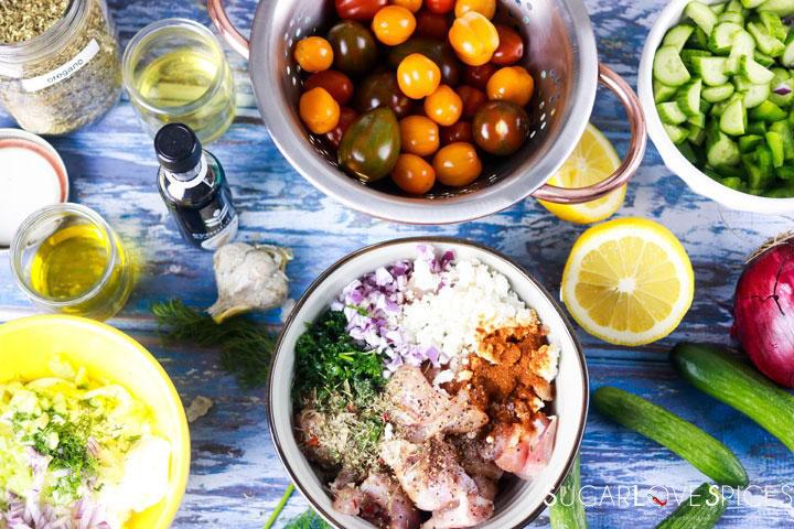 Chicken Souvlaki with fresh Greek Salad-ingredients