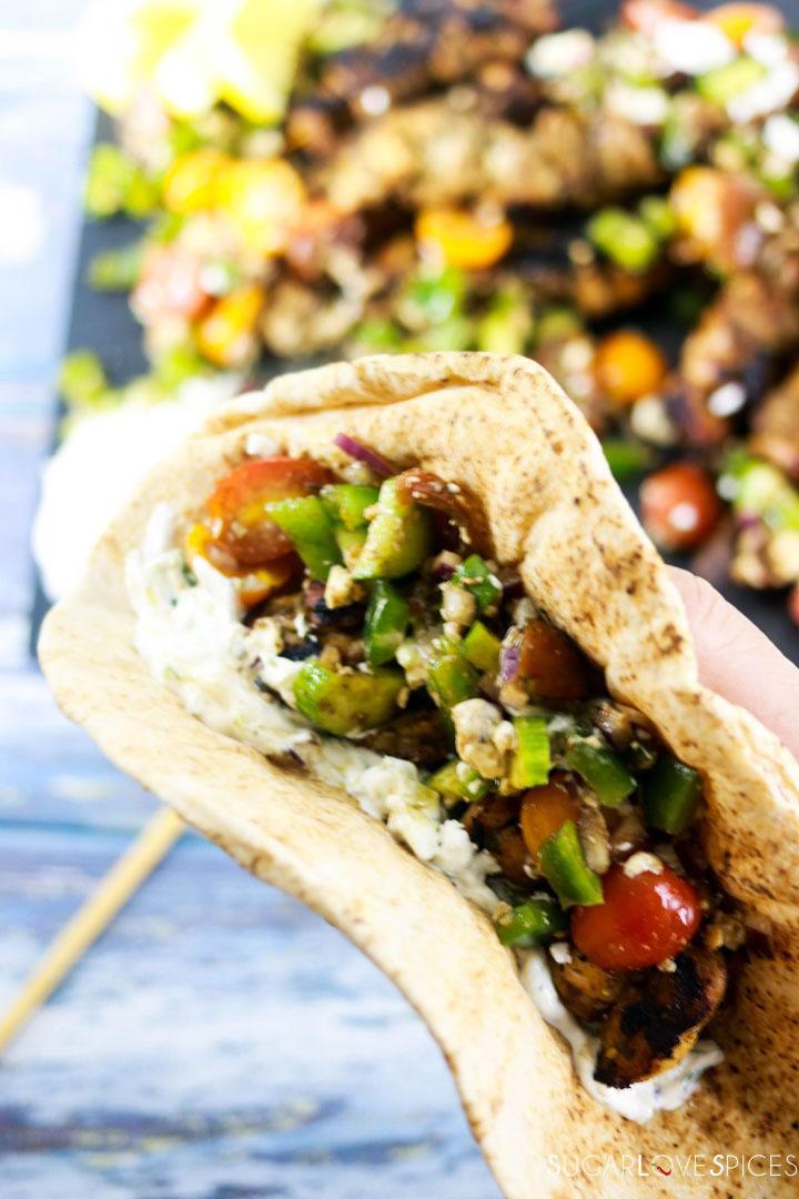 Chicken Souvlaki with fresh Greek Salad-pita wrap