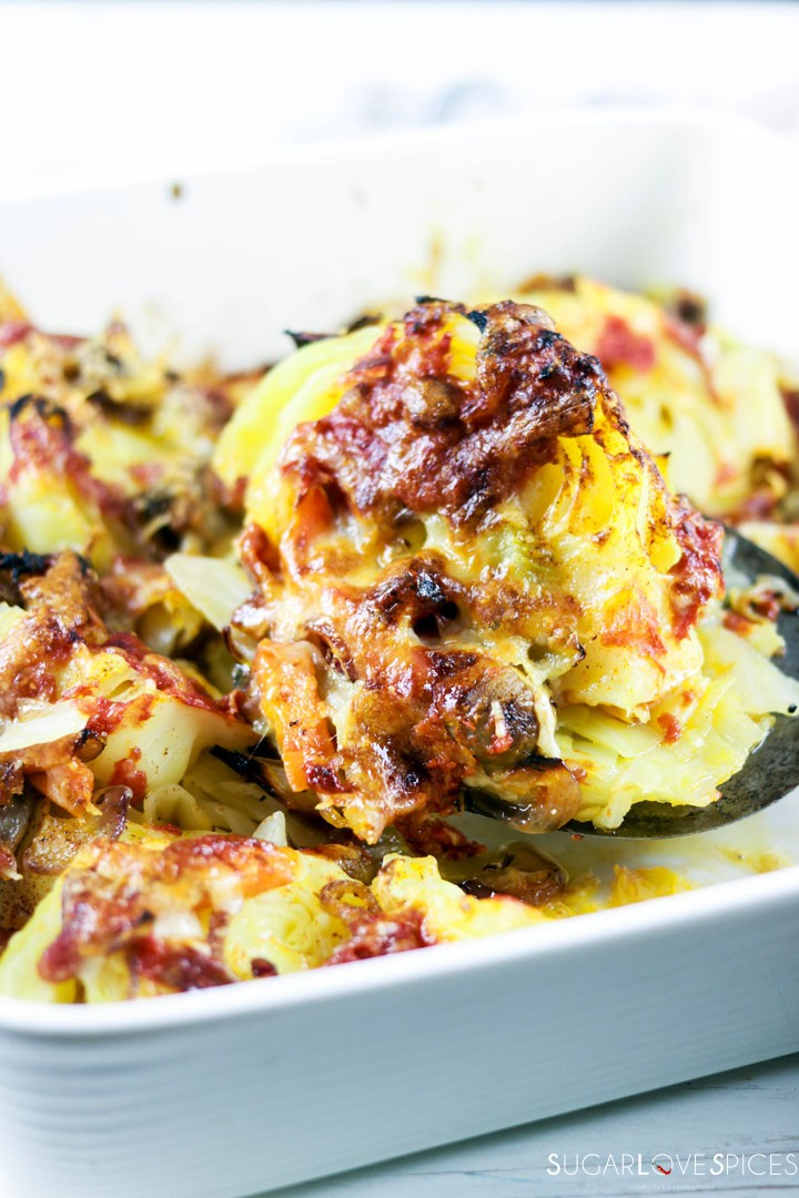 Oven Roasted Cheesy Cabbage-closeup slice