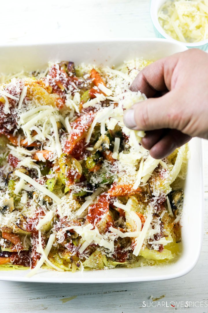 Oven Roasted Cheesy Cabbage-prep-sprinkling cheese
