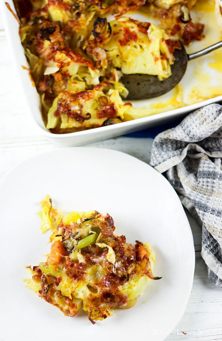 Oven Roasted Cheesy Cabbage-some on a plate-the rest in the pan