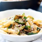 Penne with Zucchini and Mushrooms-closeup plate