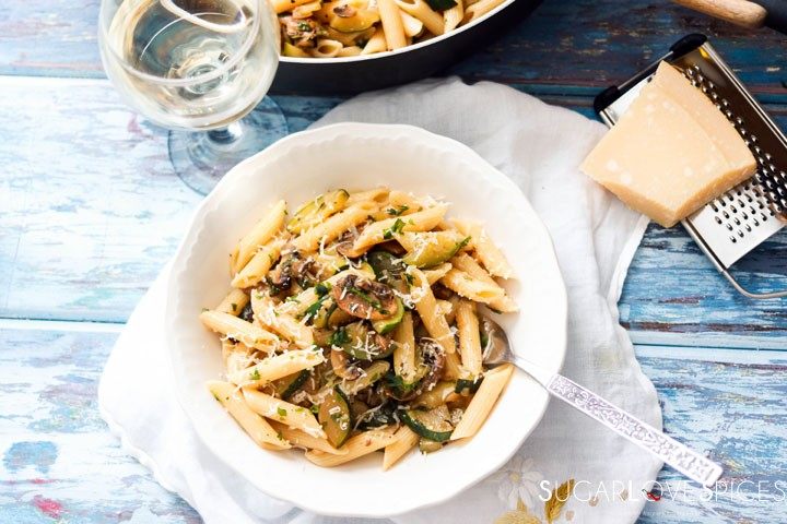 Penne with Zucchini and Mushrooms-plate and wine glass