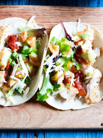 Scrumptious Grilled Fish Taco Tuesday-feature-closeup on a board