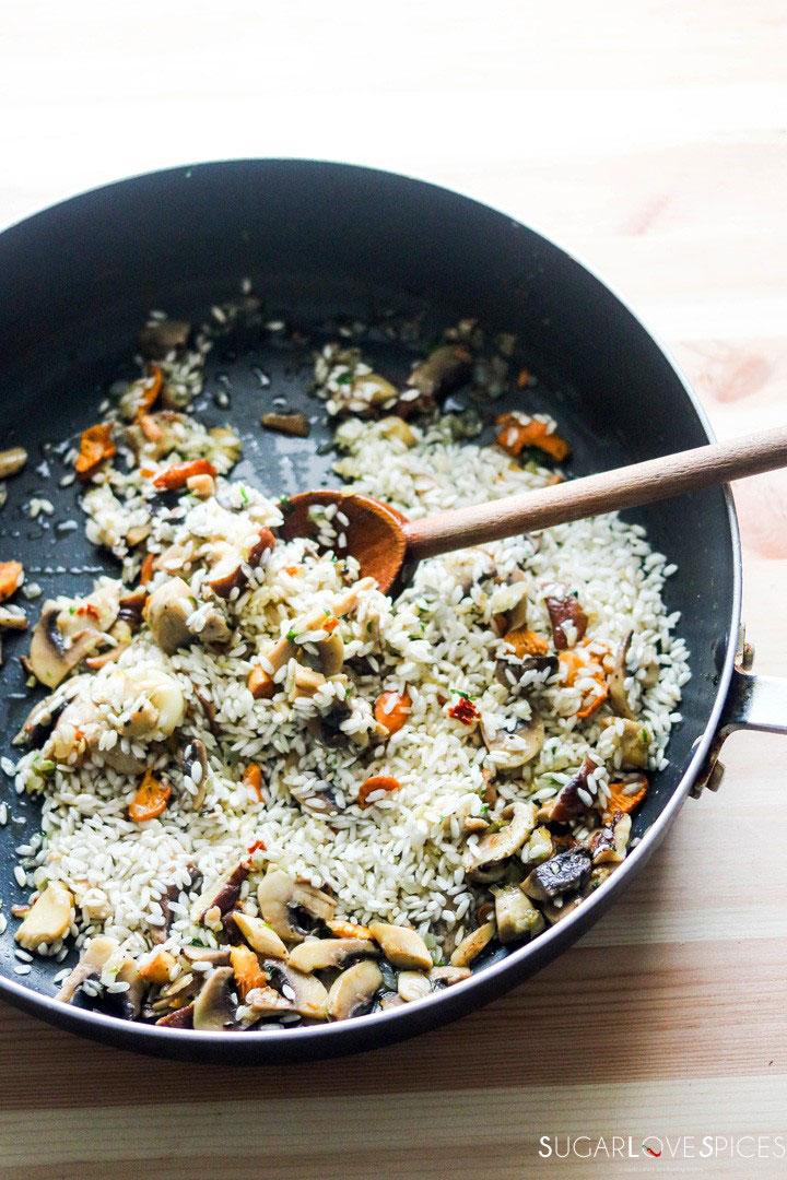 Mixed Mushroom Risotto-toasting rice