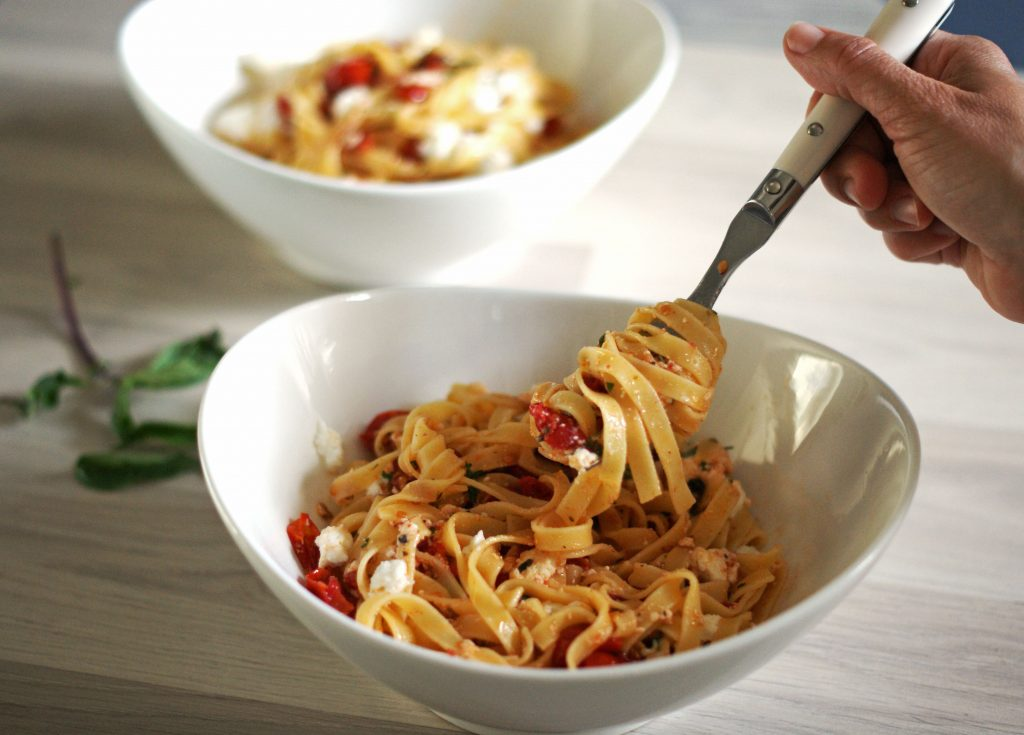 Tagliatelle-with-ricotta-and-roasted-grape-tomatoes