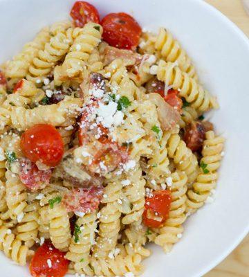 fusilli with roasted beets and tomatoes