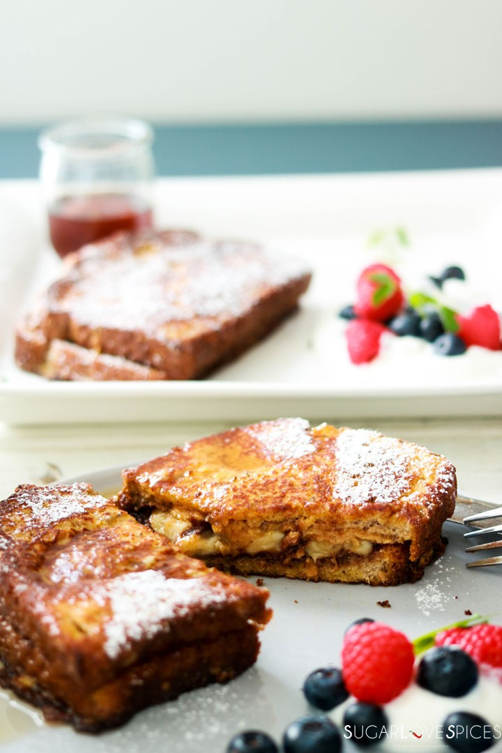 Nutella Banana Stuffed French Toast-cut on the plate