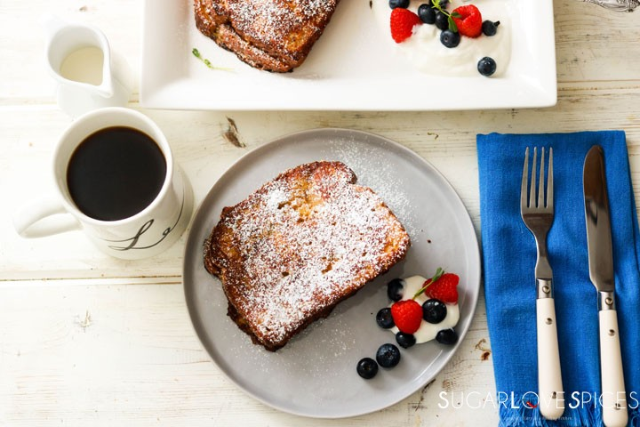 Nutella Banana Stuffed French Toast-on the plate with coffee