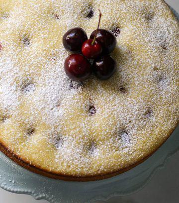 cherry almond olive oil cake