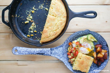 Skilled Corn Bread with Poached Egg, Avocado
