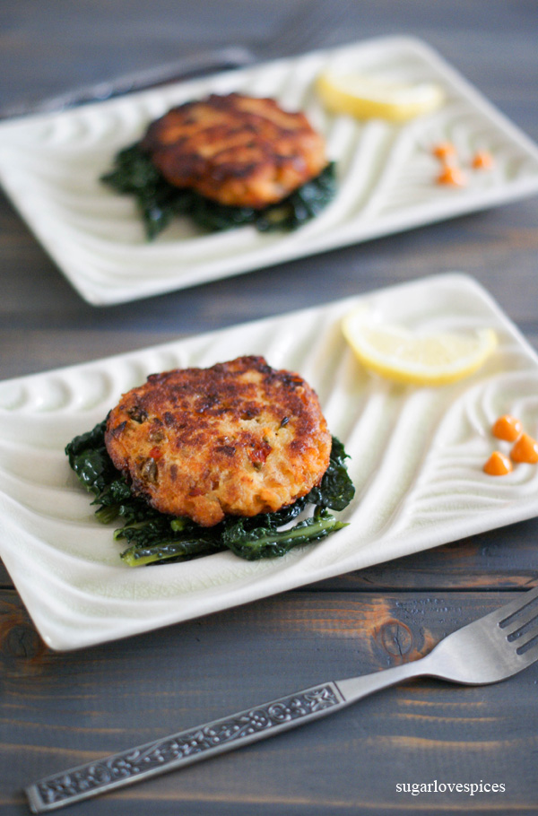 Salmon Cakes on a bed of sauteed Kale