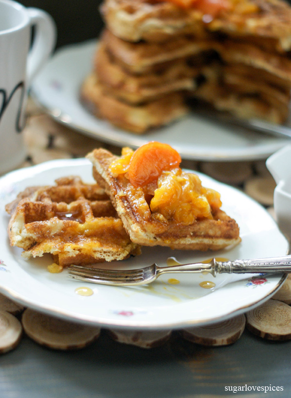 Fall Belgian Waffles with Persimmon and Mandarin Orange Compote