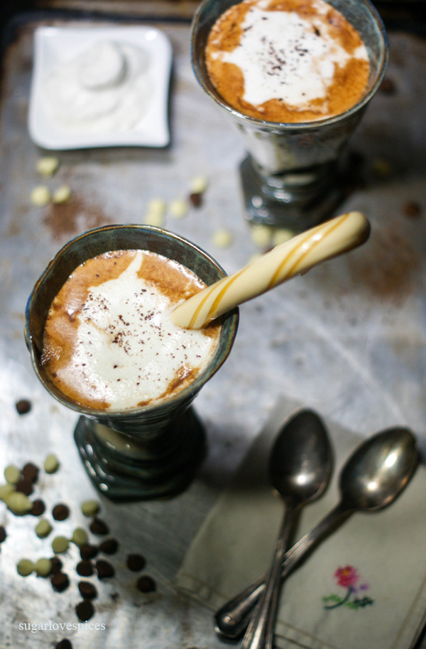 Belgian Hot Chocolate with Whip Cream and Butterscotch Candy Cane