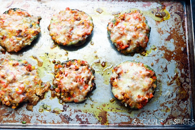 PORTOBELLINI CHEESE MELTS WITH PESTO AND PEPPERS-in the pan