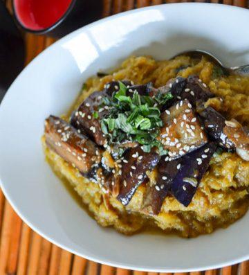 coconut curry spaghetti squash with sezchuan eggplant