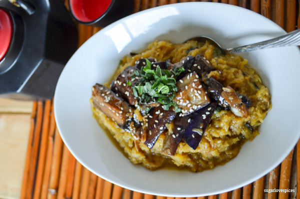 coconut curry spaghetti squash with sezchuan style eggplant