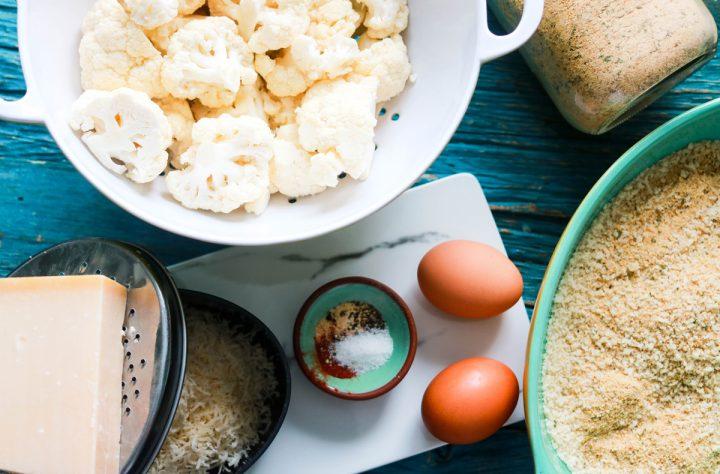 panko and asiago crusted popcorn cauliflower-mise en place