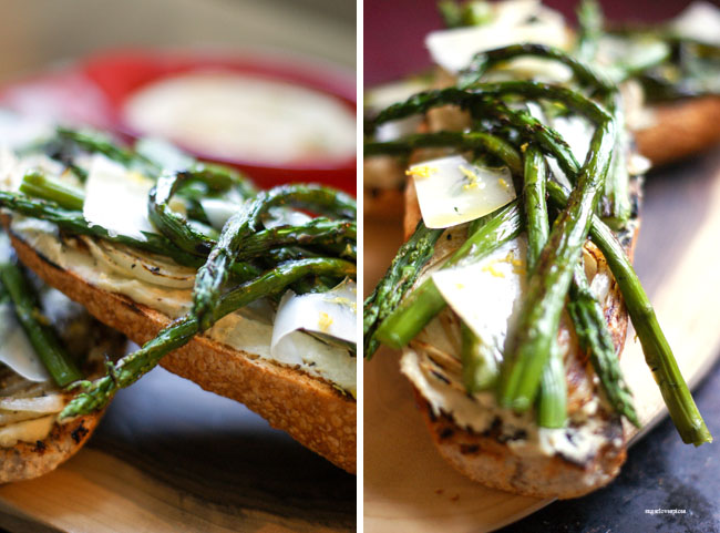 Grilled Asparagus and Onion Crostoni with Cannellini Hummus