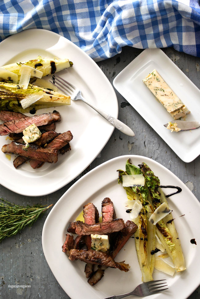 Grilled Piedmontese Tagliata with Charred Romaine Hearts