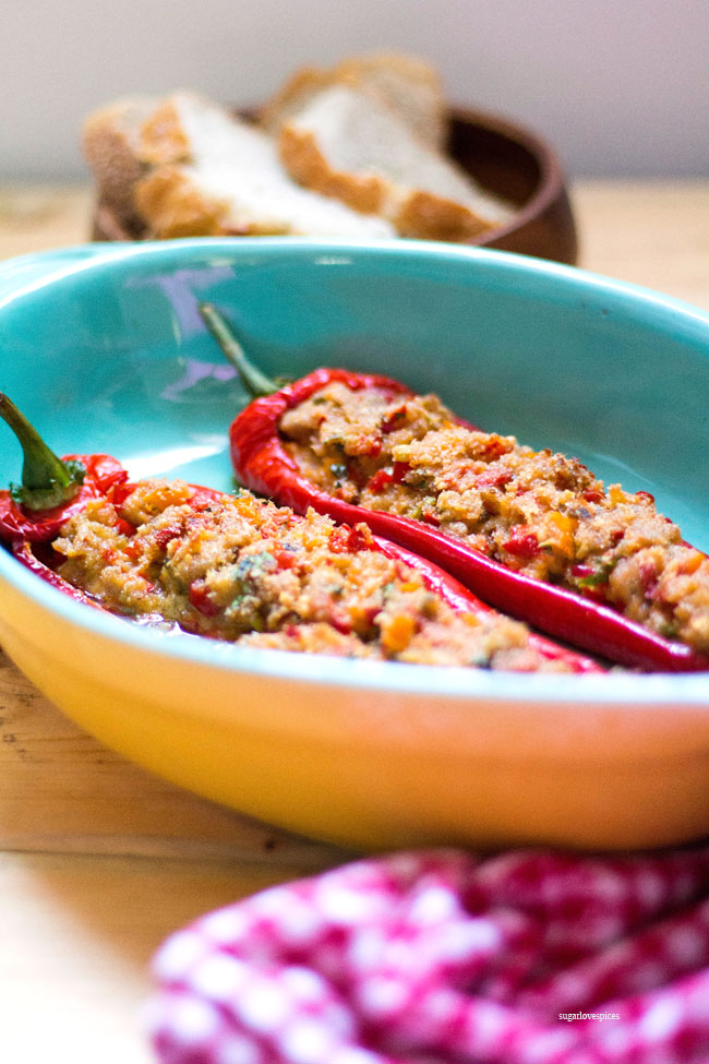 Tuna stuffed sweet peppers