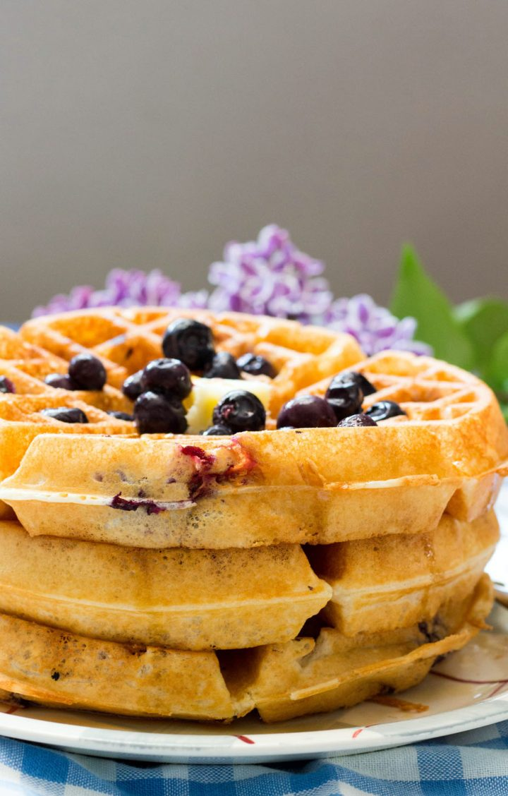 Lemon Blueberry Buttermilk Waffles-stack on a plate with blueberries