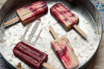 Honey-Vanilla Berry Frozen Yogurt Popsicles