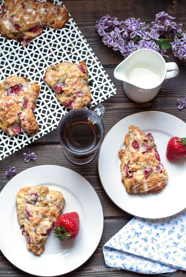 Strawberry Matcha Chocolate Scones
