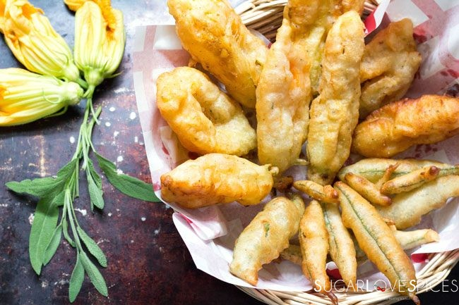 Deep fried Zucchini Flowers and sage leaves