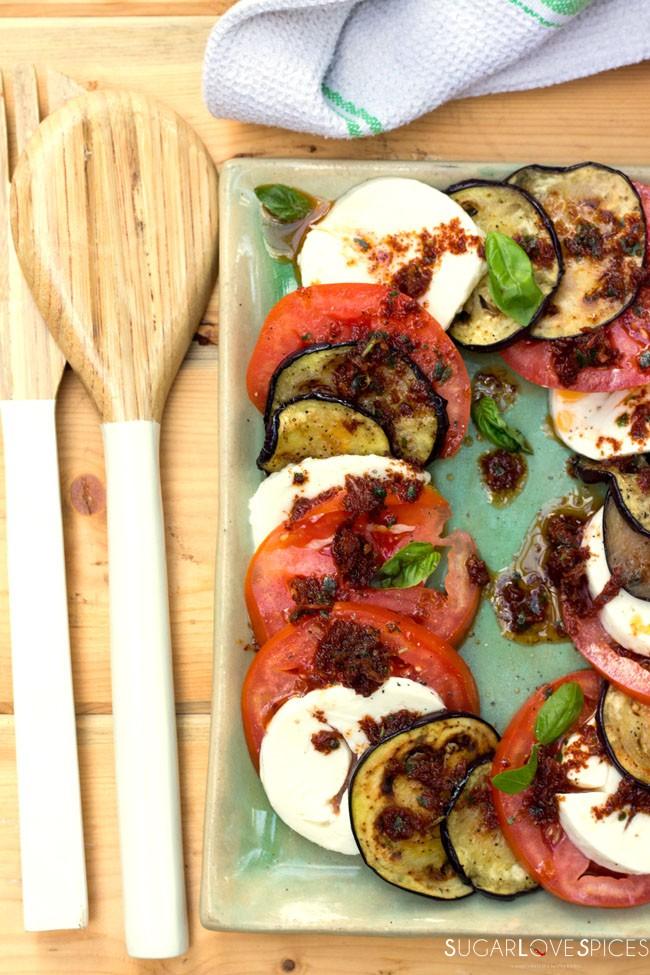 Grilled Eggplant Caprese Salad