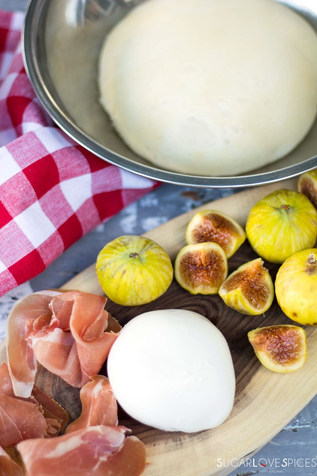 Pizza Bianca with Figs and Proscuitto, working the dough!