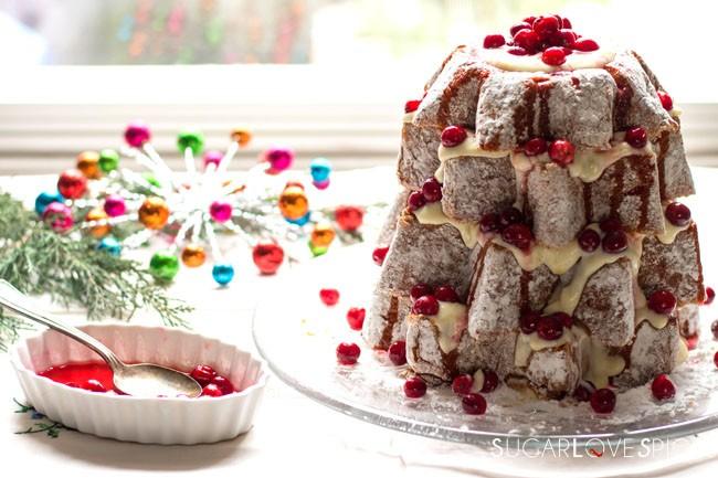 Stella di Pandoro with Chantilly Custard Cream and Cranberries