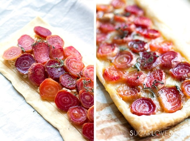 Roasted Beets and Brie Puff Pastry Tart