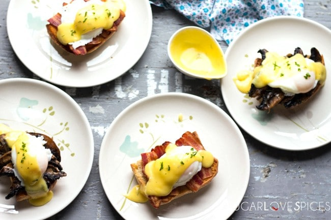 Dill Hollandaise Eggs Benedict 2 ways