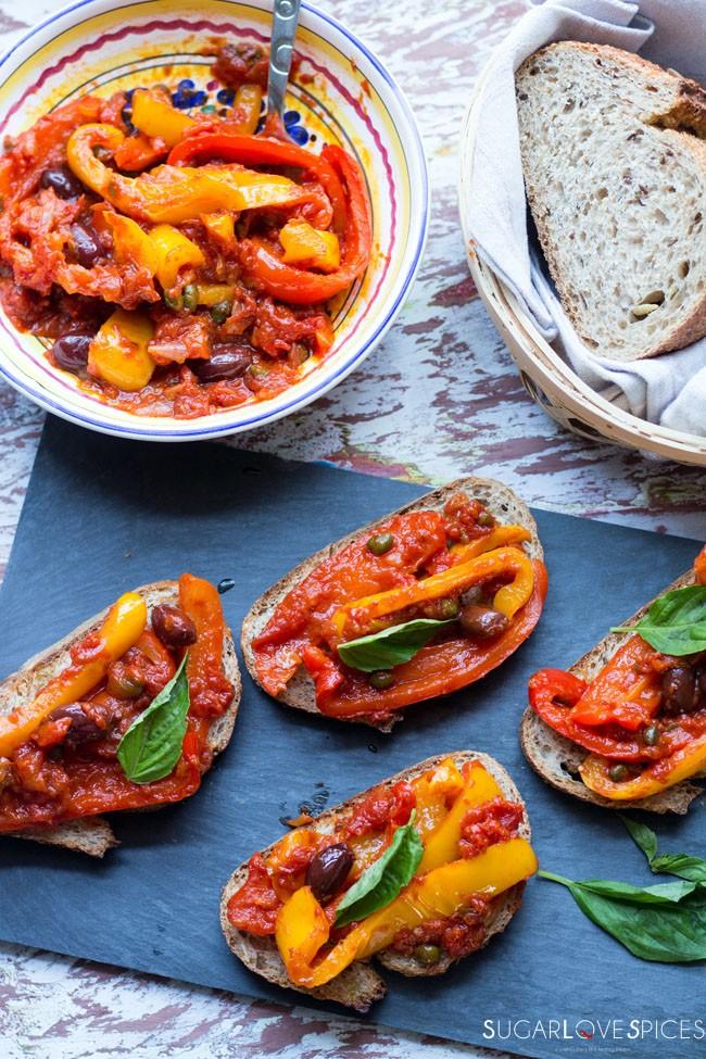 Peperonata (Stewed Savory Peppers)