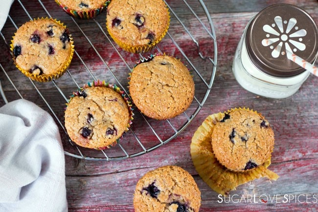 Spelt Flour Muffins with Saskatoon and Blueberries