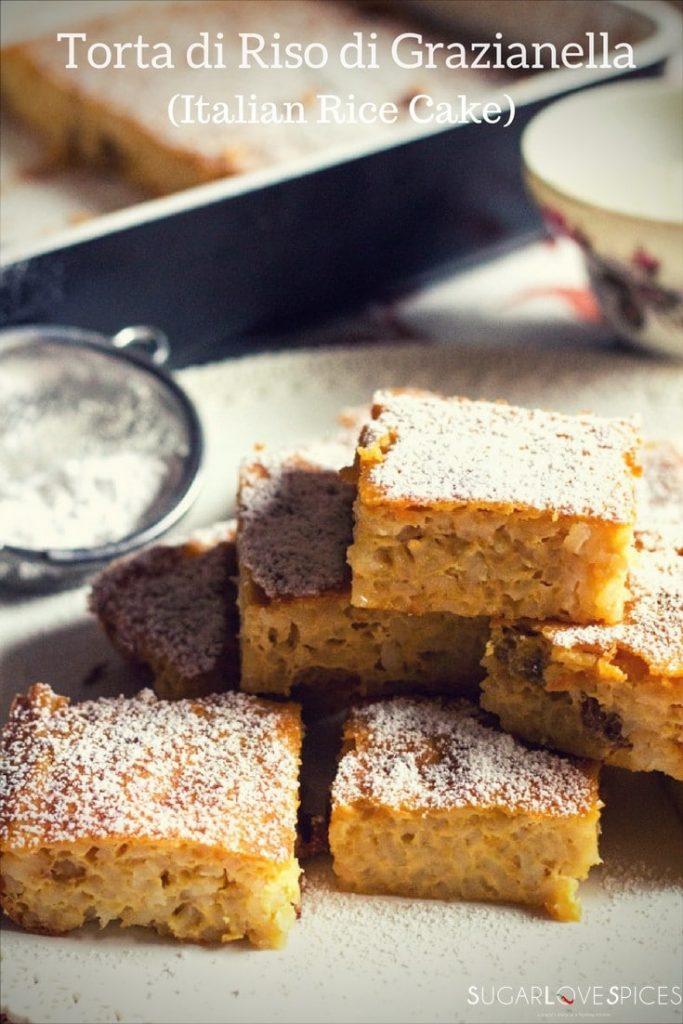 Torta di Riso di Grazianella (Italian Rice Cake)-squares with icing sugar