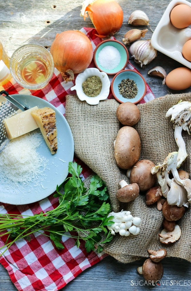 Mushroom Frittata with Truffle cheese-ingredients