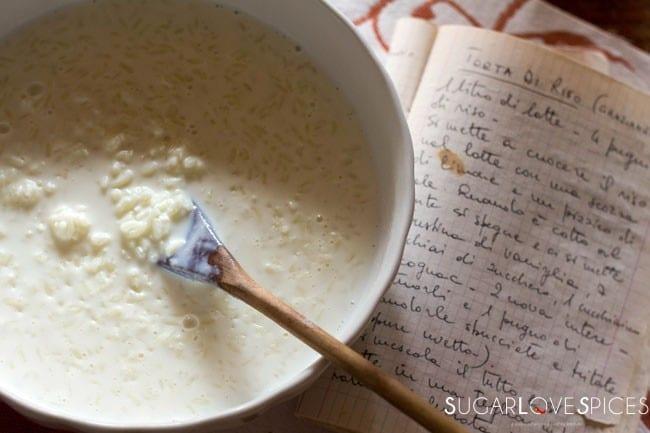 Torta di Riso di Grazianella (Italian Rice Cake)-preparation+recipe book