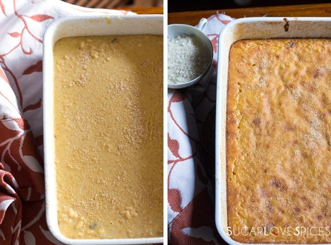Torta di Riso di Grazianella (Italian Rice Cake)-before and after the oven
