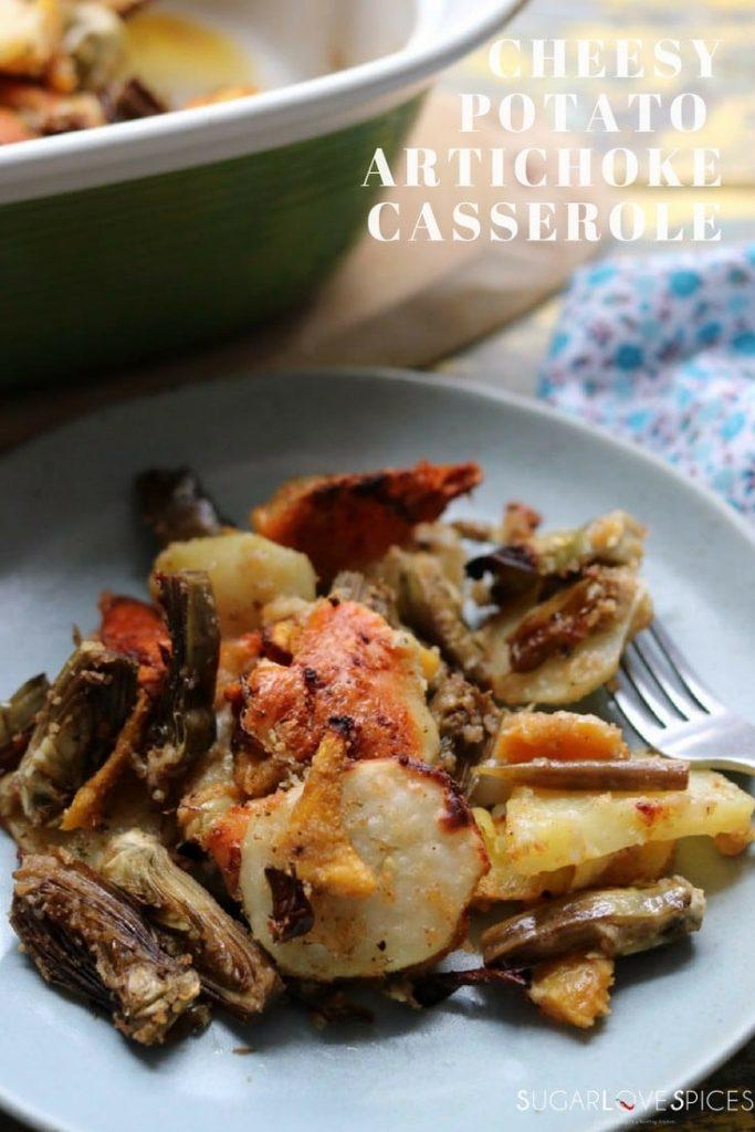 Cheesy Potato and Artichoke Casserole-pin