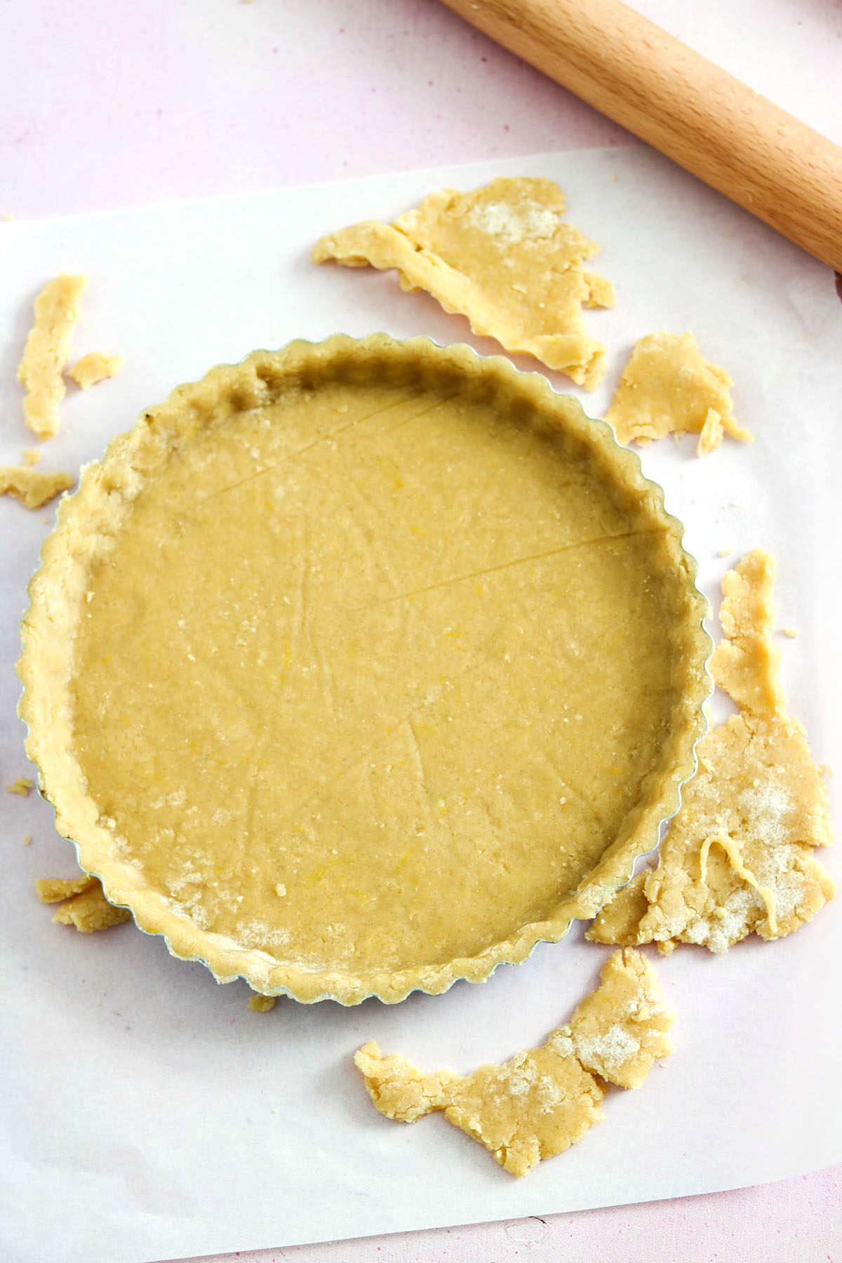 Crostata ricotta e cioccolato-dough fit in the pan