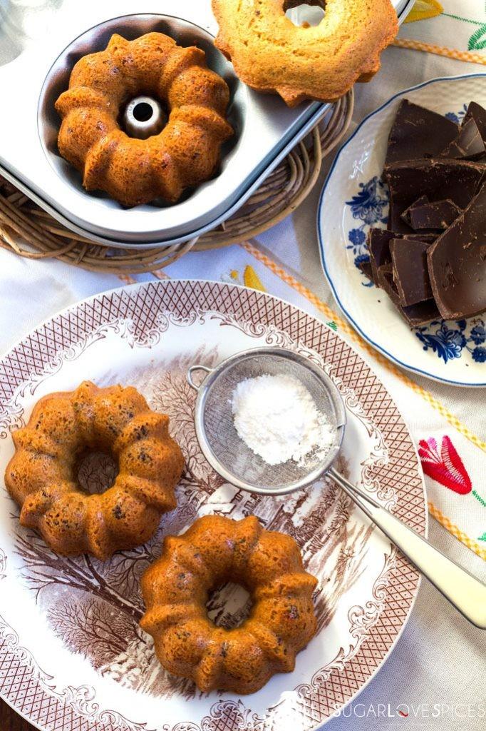 Rice flour chocolate mini bundt cakes