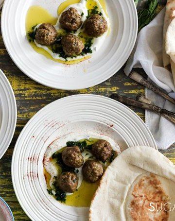 Spiced Meatballs with Greek Yogurt Mint Sauce