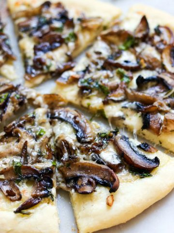 Taleggio, Mushroom & Fresh Herb Pizza-closeup