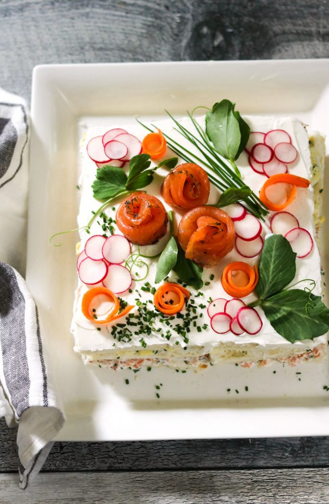 Smorgastarta, Swedish Sandwich Cake-on a serving plate